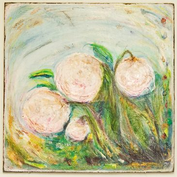 Peonies: Mixed Media on panel