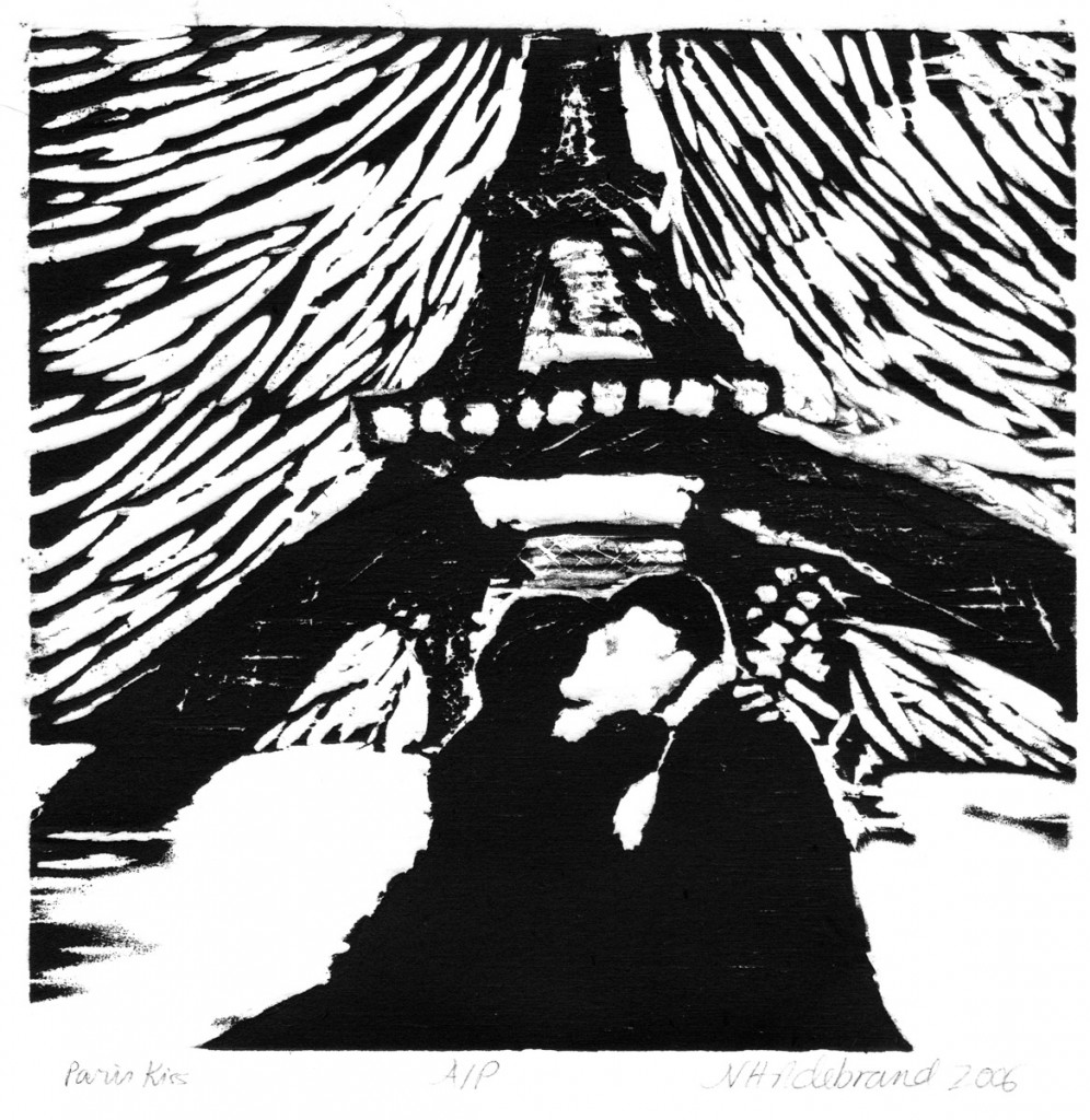 PARIS KISS WOODCUT